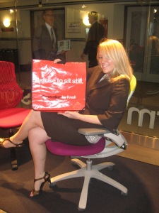 Fellow IIDA intern Kayla takes her first test sit in Knoll's Generation chair