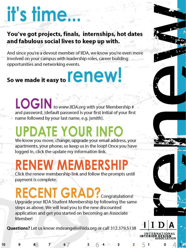students  renew your iida membership today